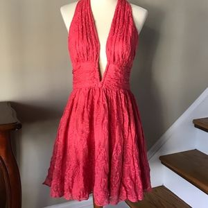 Free People Pink Coral Lace Halter Party Dress 6